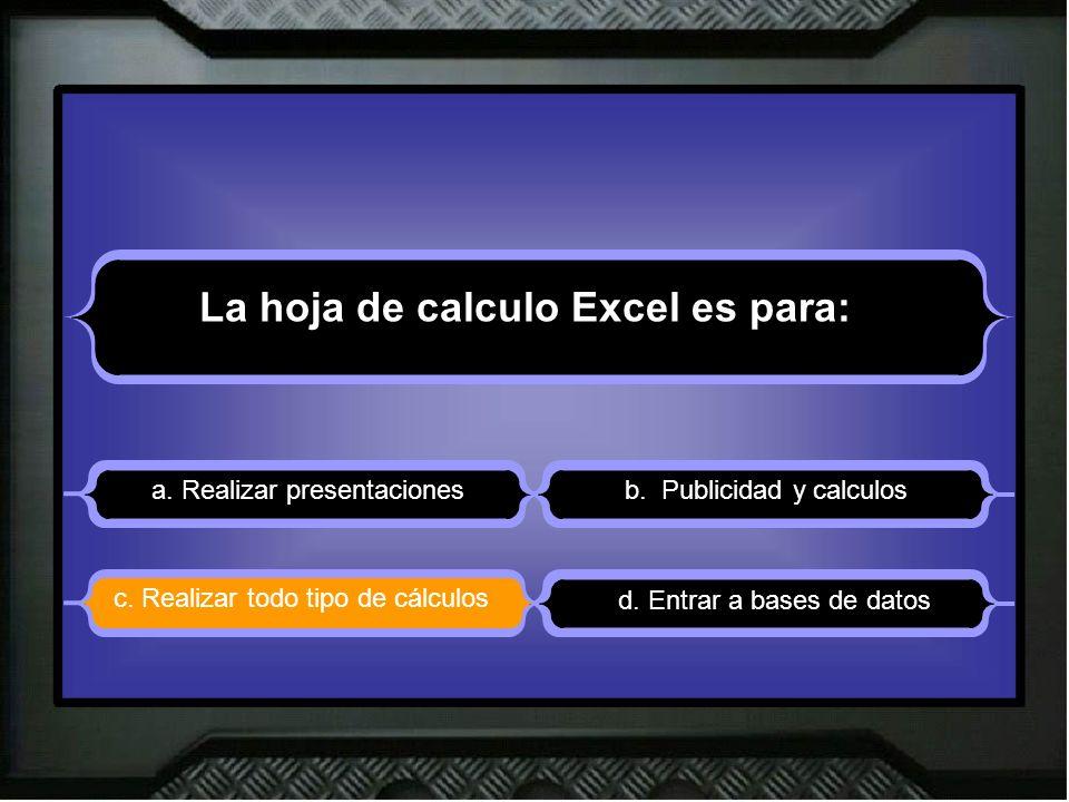 La hoja de calculo Excel es para: a. Realizar presentacionesb.