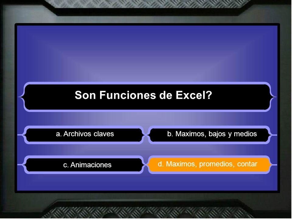 Son Funciones de Excel. a. Archivos clavesb. Maximos, bajos y medios d.
