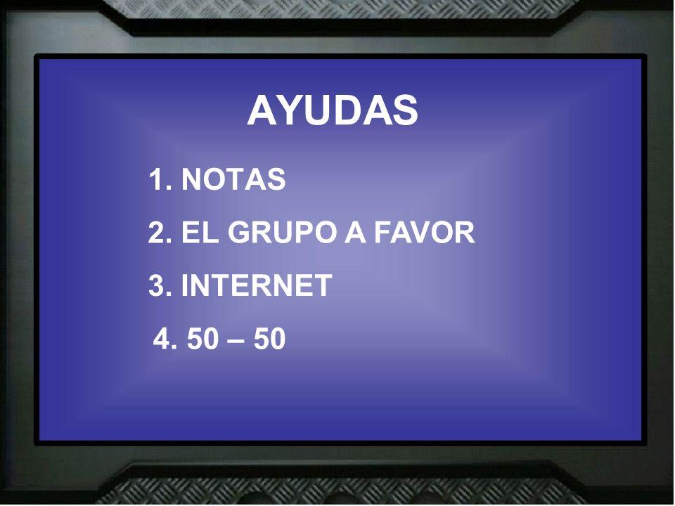AYUDAS 1. NOTAS 2. EL GRUPO A FAVOR 3. INTERNET 4. 50 – 50