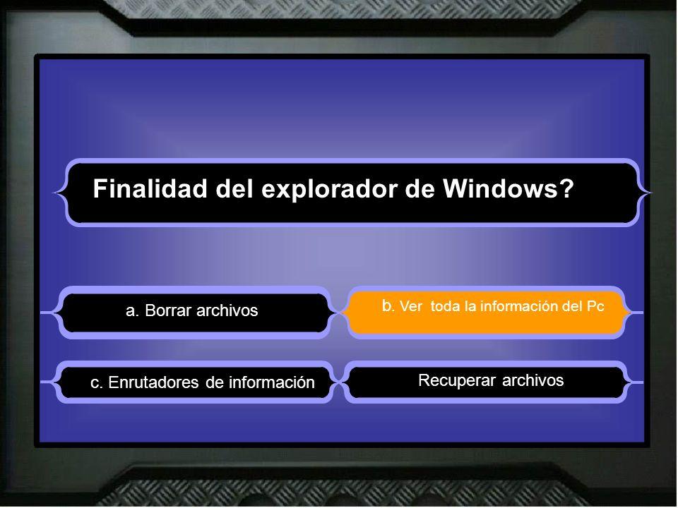 Finalidad del explorador de Windows. a. Borrar archivos b.