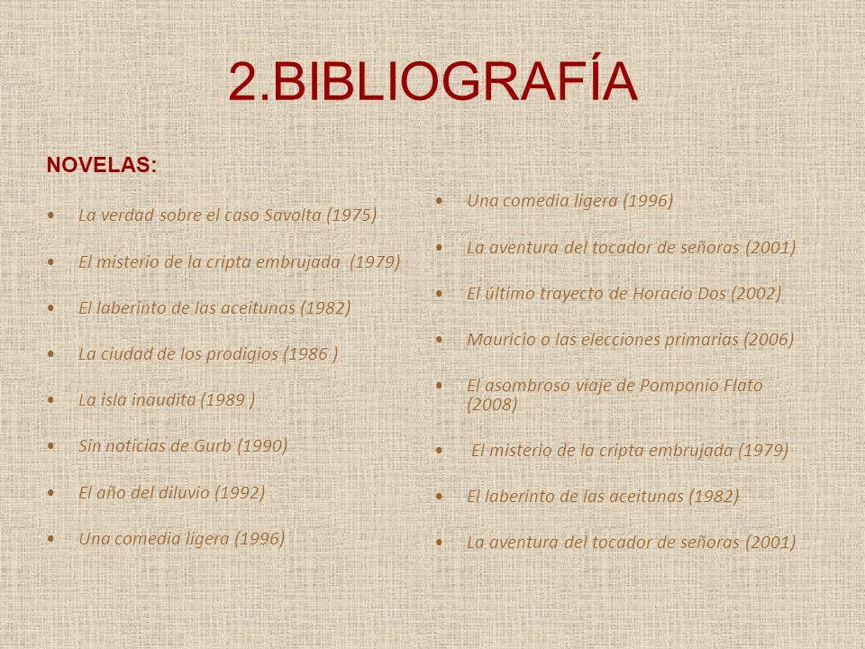 2.BIBLIOGRAFÍA NOVELAS: La verdad sobre el caso Savolta (1975) El misterio de la cripta embrujada (1979) El laberinto de las aceitunas (1982) La ciuda