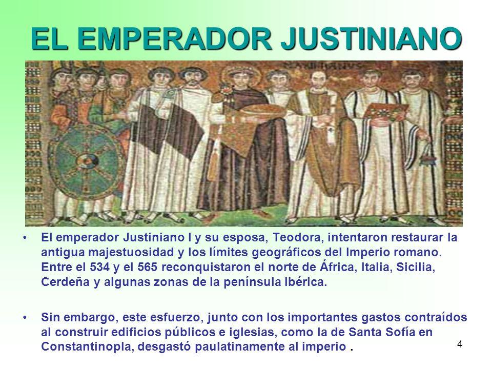 4 EL EMPERADOR JUSTINIANO El emperador Justiniano I y su esposa, Teodora, intentaron restaurar la antigua majestuosidad y los límites geográficos del