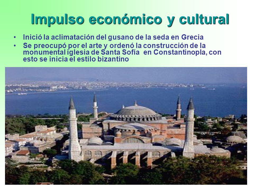 6 Impulso económico y cultural Inició la aclimatación del gusano de la seda en Grecia Se preocupó por el arte y ordenó la construcción de la monumenta
