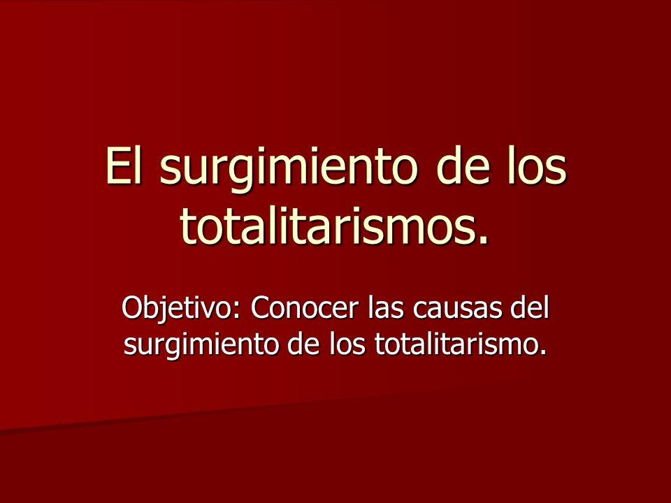 El surgimiento de los totalitarismos. Objetivo: Conocer las causas del surgimiento de los totalitarismo.
