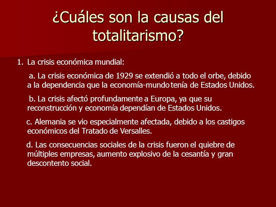 ¿Cuáles son la causas del totalitarismo? 1.La crisis económica mundial: a. La crisis económica de 1929 se extendió a todo el orbe, debido a la depende