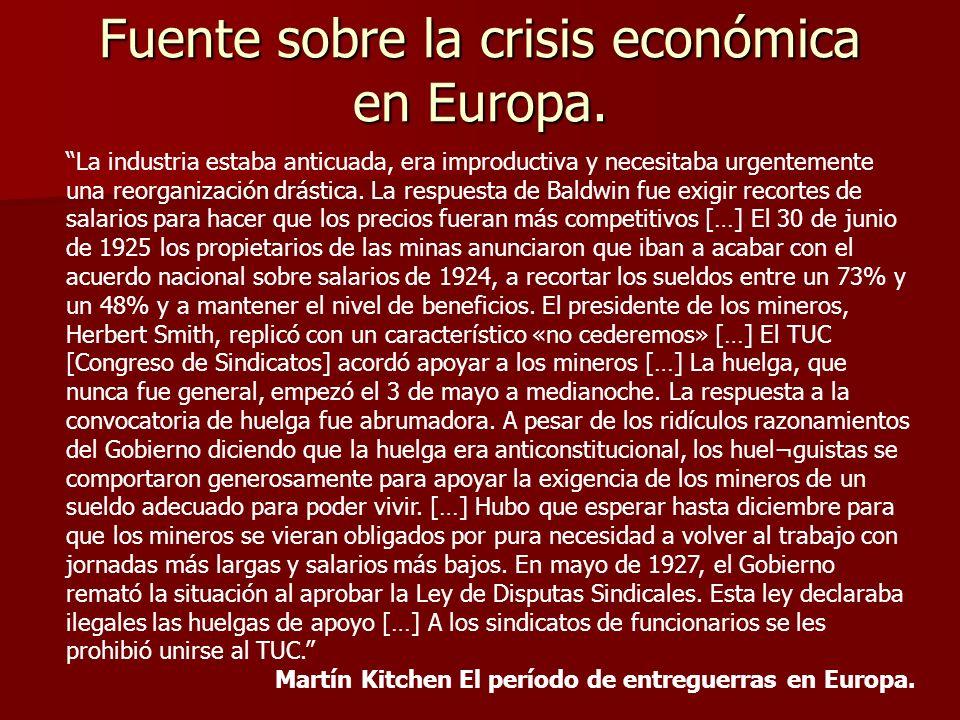Fuente sobre la crisis económica en Europa. La industria estaba anticuada, era improductiva y necesitaba urgentemente una reorganización drástica. La