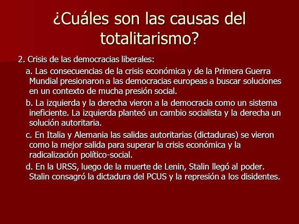 ¿Cuáles son las causas del totalitarismo? 2. Crisis de las democracias liberales: a. Las consecuencias de la crisis económica y de la Primera Guerra M