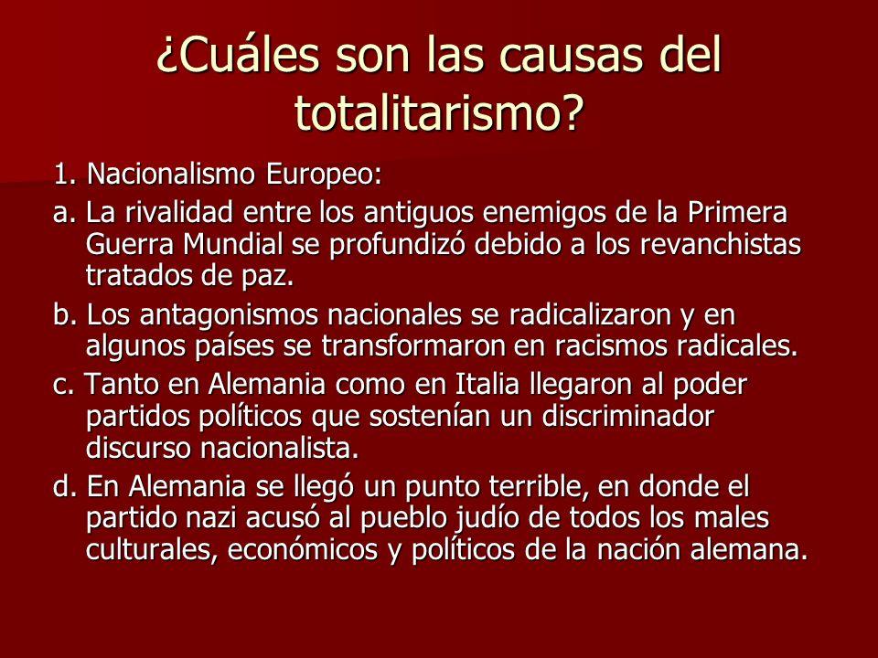 ¿Cuáles son las causas del totalitarismo? 1. Nacionalismo Europeo: a. La rivalidad entre los antiguos enemigos de la Primera Guerra Mundial se profund