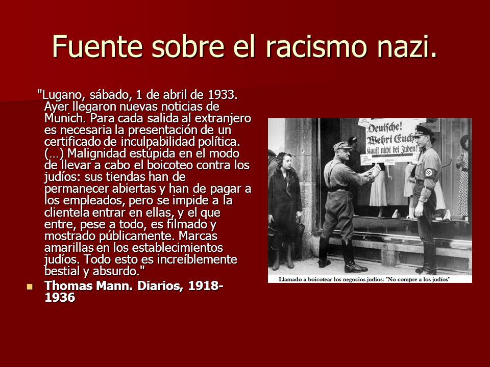 Fuente sobre el racismo nazi.