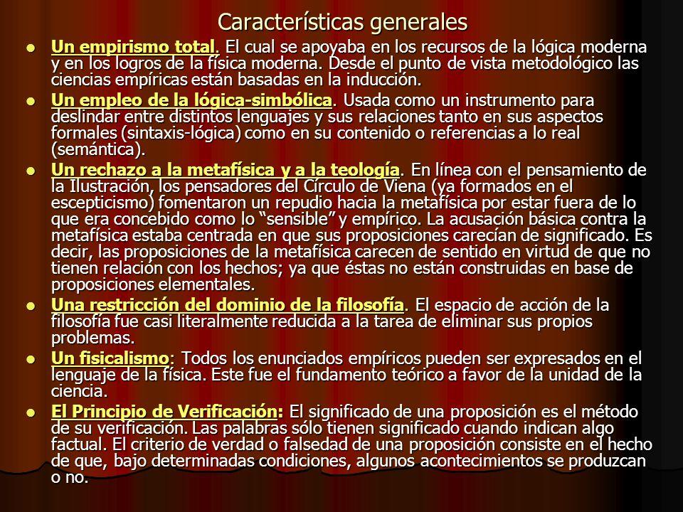 Características generales Un empirismo total. El cual se apoyaba en los recursos de la lógica moderna y en los logros de la física moderna. Desde el p