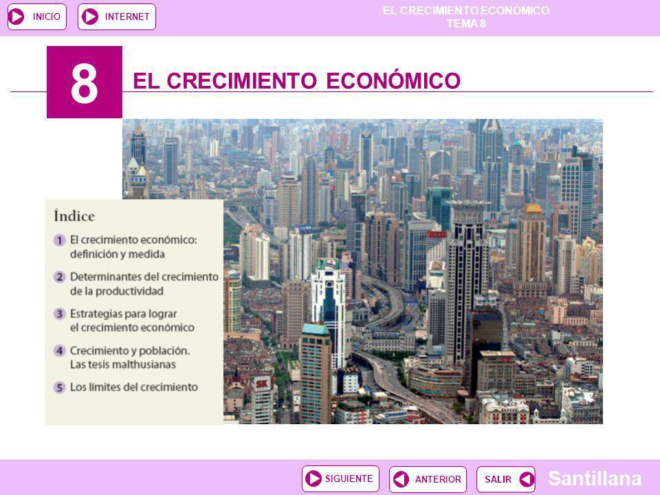 EL CRECIMIENTO ECONÓMICO TEMA 8 Santillana ANTERIORSIGUIENTE INICIOINTERNET 8 EL CRECIMIENTO ECONÓMICO