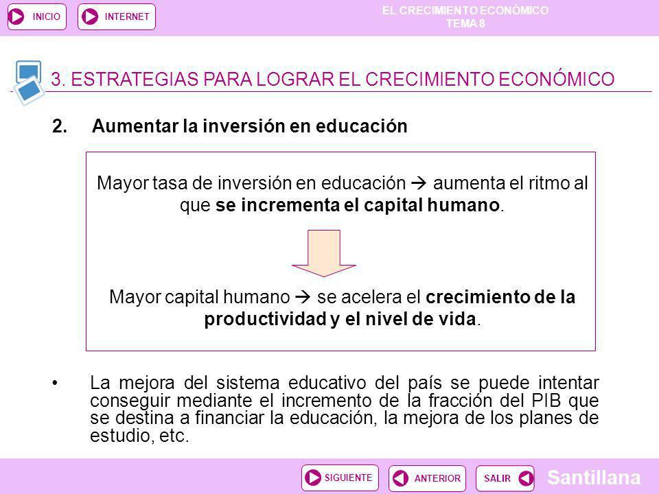 EL CRECIMIENTO ECONÓMICO TEMA 8 Santillana ANTERIORSIGUIENTE INICIOINTERNET La mejora del sistema educativo del país se puede intentar conseguir media