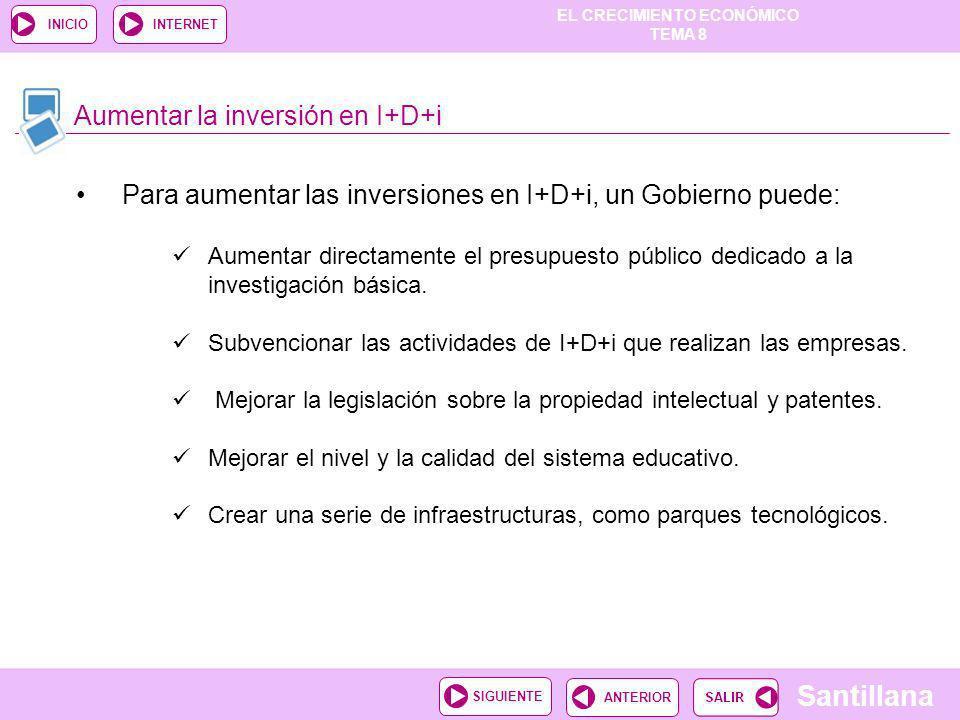 EL CRECIMIENTO ECONÓMICO TEMA 8 Santillana ANTERIORSIGUIENTE INICIOINTERNET Aumentar la inversión en I+D+i Aumentar directamente el presupuesto públic