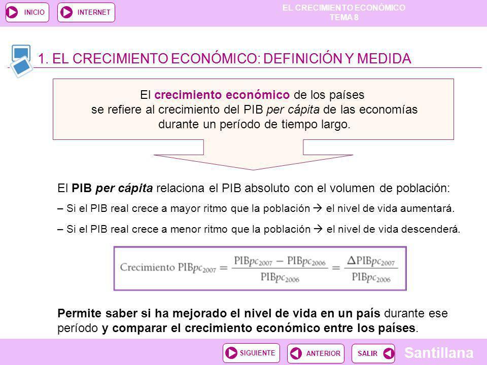 TEMA 8 Santillana ANTERIORSIGUIENTE INICIOINTERNET 1. EL CRECIMIENTO ECONÓMICO: DEFINICIÓN Y MEDIDA El crecimiento económico de los países se refiere