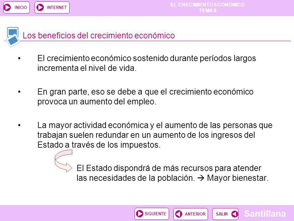 EL CRECIMIENTO ECONÓMICO TEMA 8 Santillana ANTERIORSIGUIENTE INICIOINTERNET El crecimiento económico sostenido durante períodos largos incrementa el n