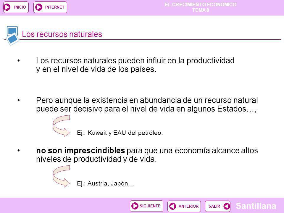EL CRECIMIENTO ECONÓMICO TEMA 8 Santillana ANTERIORSIGUIENTE INICIOINTERNET Los recursos naturales pueden influir en la productividad y en el nivel de