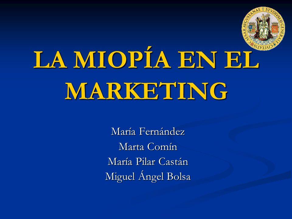 LA MIOPÍA EN EL MARKETING María Fernández Marta Comín María Pilar Castán Miguel Ángel Bolsa