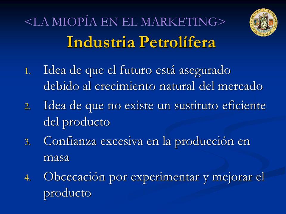 Industria Petrolífera 1. Idea de que el futuro está asegurado debido al crecimiento natural del mercado 2. Idea de que no existe un sustituto eficient