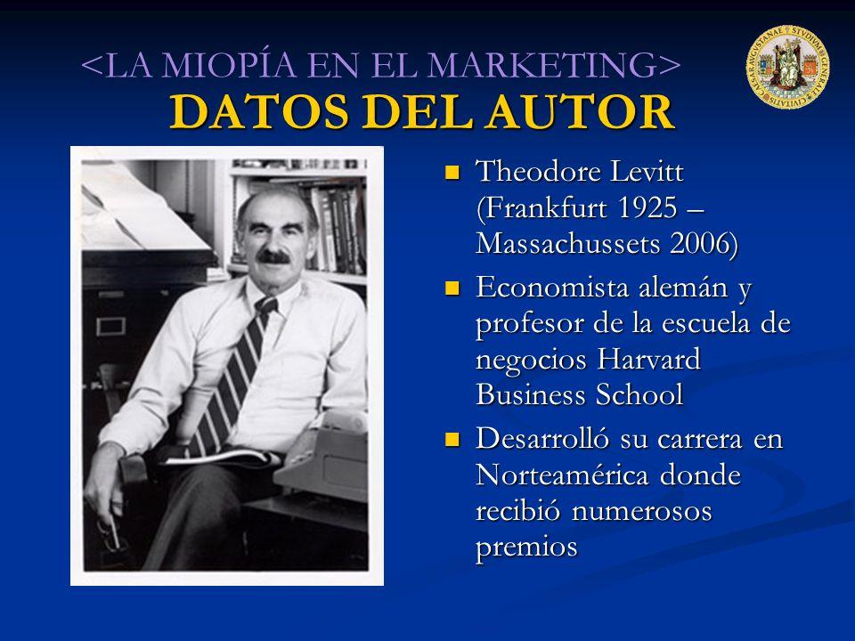 DATOS DEL AUTOR Theodore Levitt (Frankfurt 1925 – Massachussets 2006) Economista alemán y profesor de la escuela de negocios Harvard Business School D