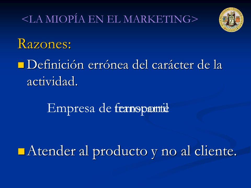 Razones: Definición errónea del carácter de la actividad. Definición errónea del carácter de la actividad. Atender al producto y no al cliente. Atende