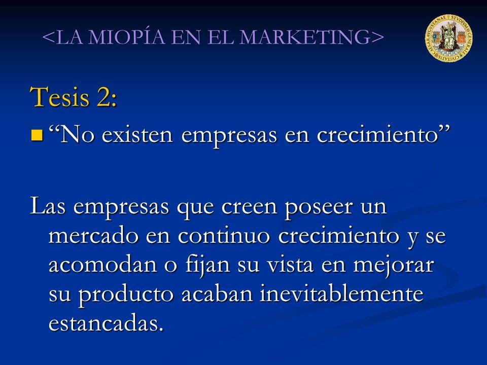 Tesis 2: No existen empresas en crecimiento No existen empresas en crecimiento Las empresas que creen poseer un mercado en continuo crecimiento y se a
