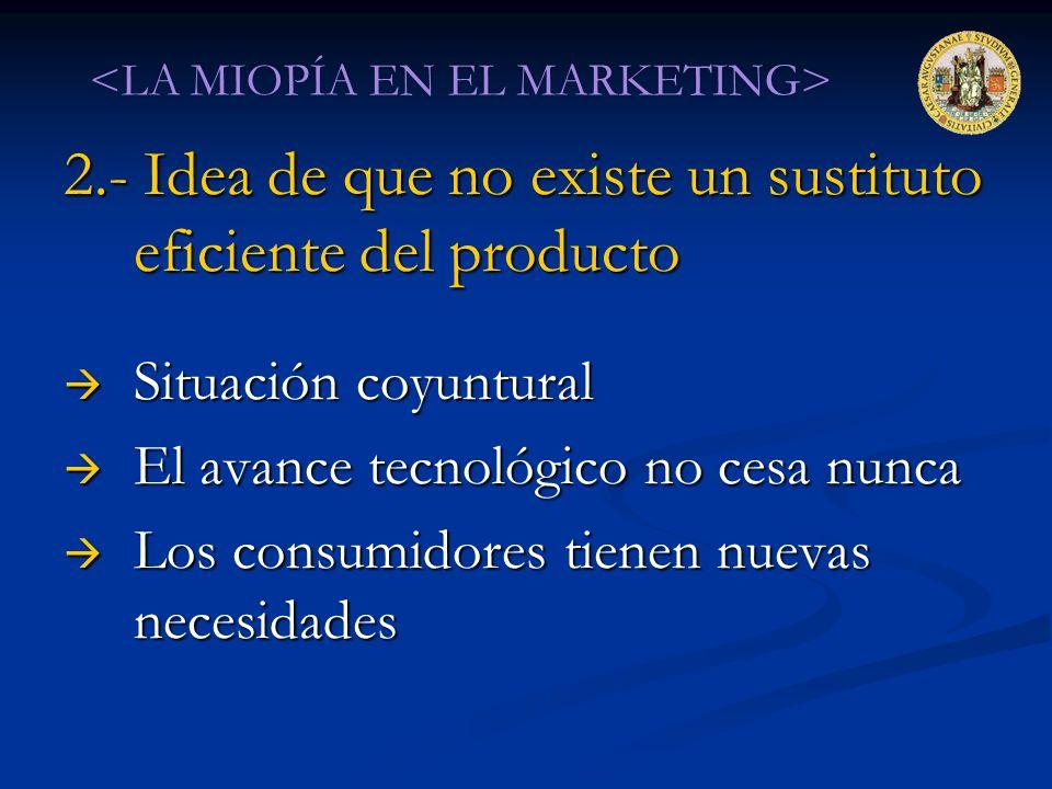 2.- Idea de que no existe un sustituto eficiente del producto Situación coyuntural Situación coyuntural El avance tecnológico no cesa nunca El avance