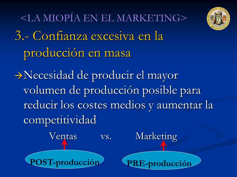 3.- Confianza excesiva en la producción en masa Necesidad de producir el mayor volumen de producción posible para reducir los costes medios y aumentar