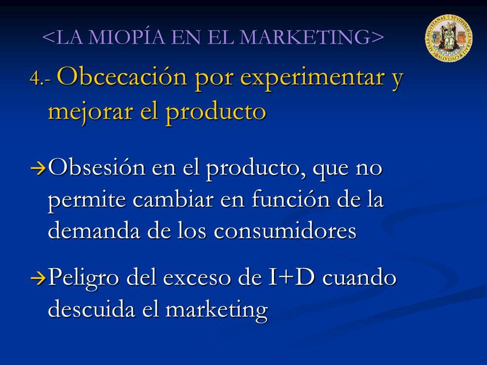 4.- Obcecación por experimentar y mejorar el producto Obsesión en el producto, que no permite cambiar en función de la demanda de los consumidores Obs