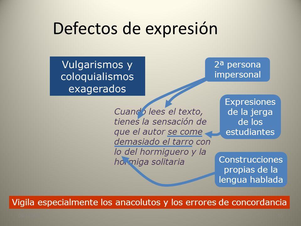 09/11/20139 Defectos de expresión Es el inoportuno alarde de conocimientos, la inadecuación del discurso a la situación Es el inoportuno alarde de con