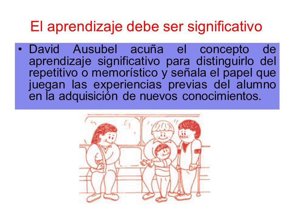 El aprendizaje debe ser significativo David Ausubel acuña el concepto de aprendizaje significativo para distinguirlo del repetitivo o memorístico y se