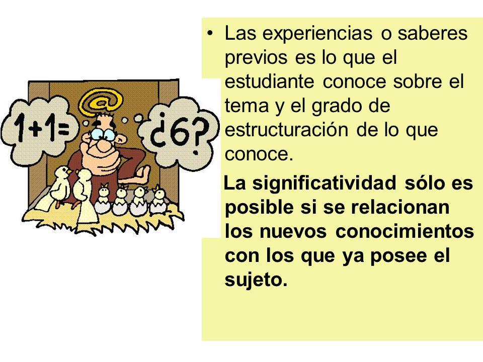 Las experiencias o saberes previos es lo que el estudiante conoce sobre el tema y el grado de estructuración de lo que conoce. La significatividad sól