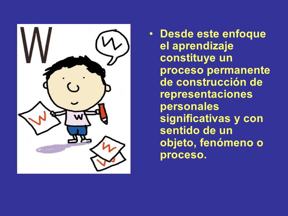 Desde este enfoque el aprendizaje constituye un proceso permanente de construcción de representaciones personales significativas y con sentido de un o