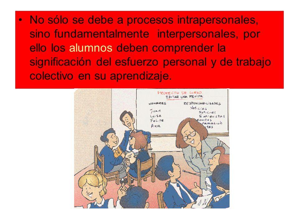 No sólo se debe a procesos intrapersonales, sino fundamentalmente interpersonales, por ello los alumnos deben comprender la significación del esfuerzo