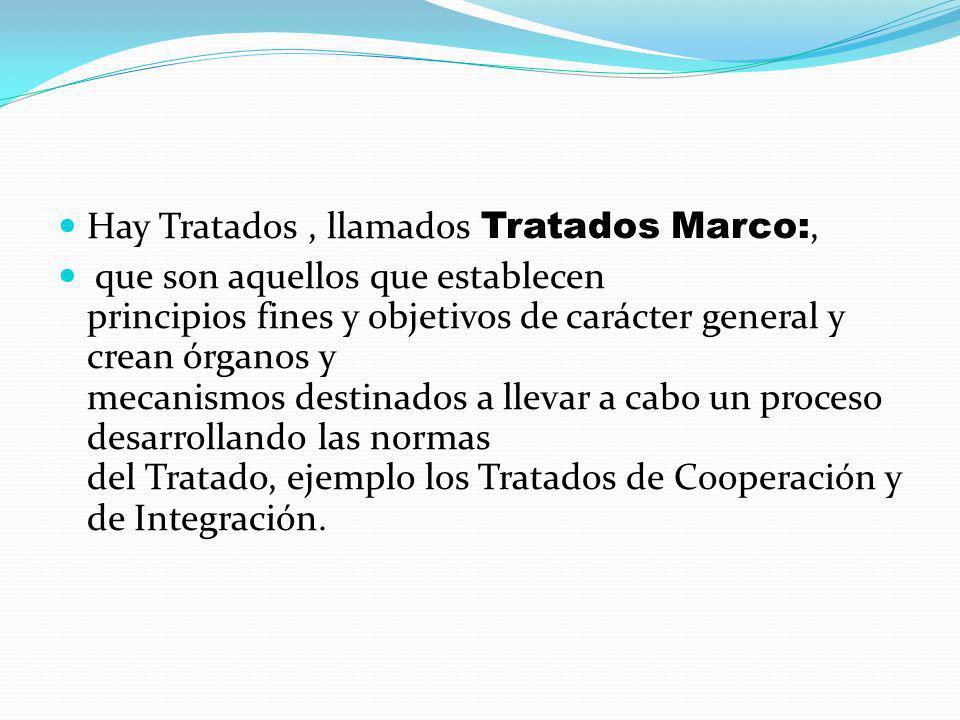 Hay Tratados, llamados Tratados Marco:, que son aquellos que establecen principios fines y objetivos de carácter general y crean órganos y mecanismos