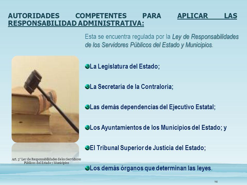 AUTORIDADES COMPETENTES PARA APLICAR LAS RESPONSABILIDAD ADMINISTRATIVA: Ley de Responsabilidades de los Servidores Públicos del Estado y Municipios E