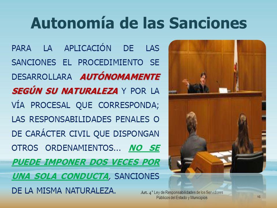 Autonomía de las Sanciones AUTÓNOMAMENTE SEGÚN SU NATURALEZA PARA LA APLICACIÓN DE LAS SANCIONES EL PROCEDIMIENTO SE DESARROLLARA AUTÓNOMAMENTE SEGÚN
