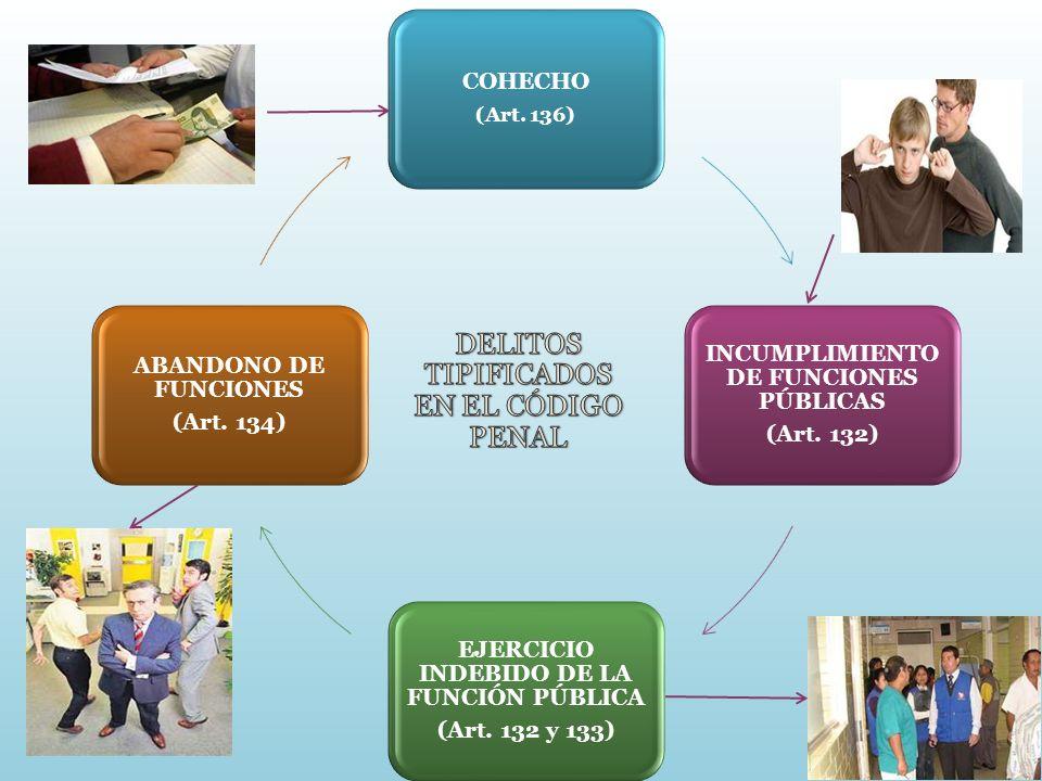 COHECHO (Art. 136) INCUMPLIMIENTO DE FUNCIONES PÚBLICAS (Art. 132) EJERCICIO INDEBIDO DE LA FUNCIÓN PÚBLICA (Art. 132 y 133) ABANDONO DE FUNCIONES (Ar
