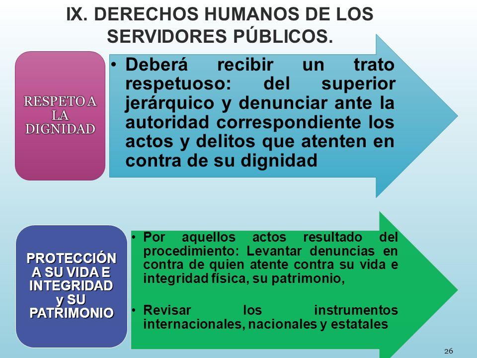 26 IX. DERECHOS HUMANOS DE LOS SERVIDORES PÚBLICOS. Deberá recibir un trato respetuoso: del superior jerárquico y denunciar ante la autoridad correspo
