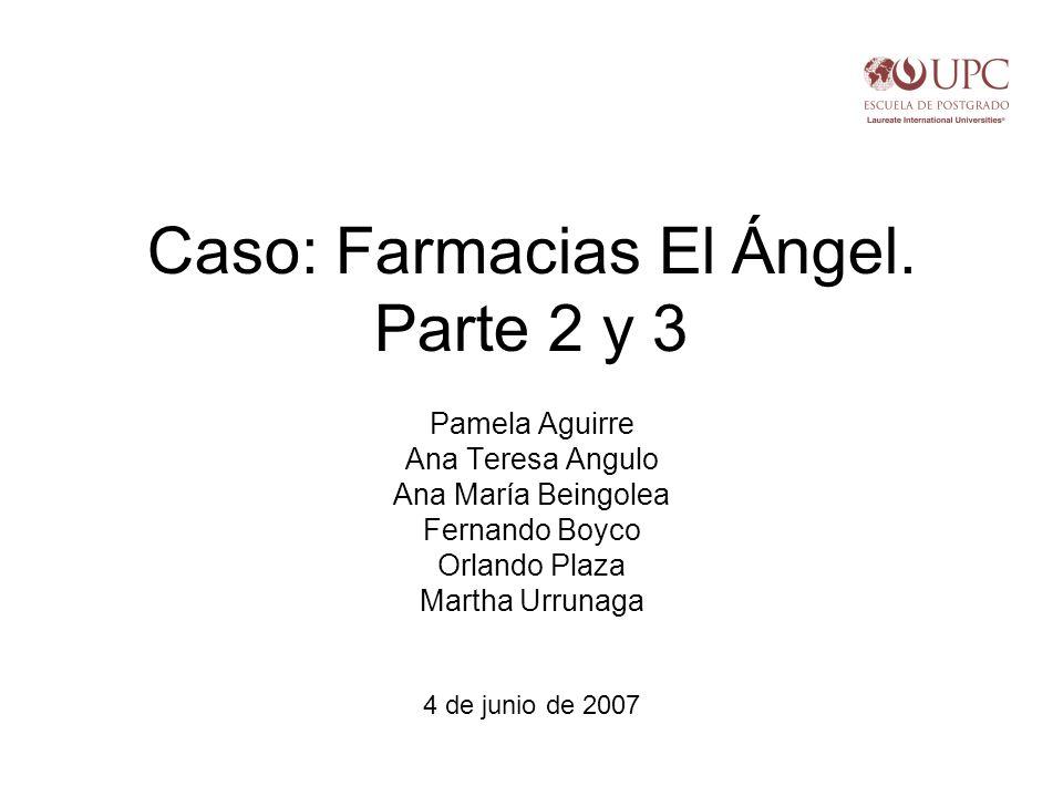 Caso: Farmacias El Ángel. Parte 2 y 3 Pamela Aguirre Ana Teresa Angulo Ana María Beingolea Fernando Boyco Orlando Plaza Martha Urrunaga 4 de junio de
