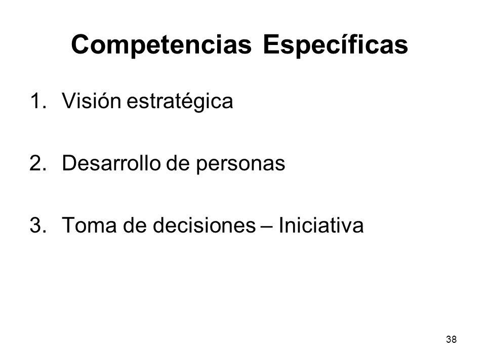38 Competencias Específicas 1.Visión estratégica 2.Desarrollo de personas 3.Toma de decisiones – Iniciativa