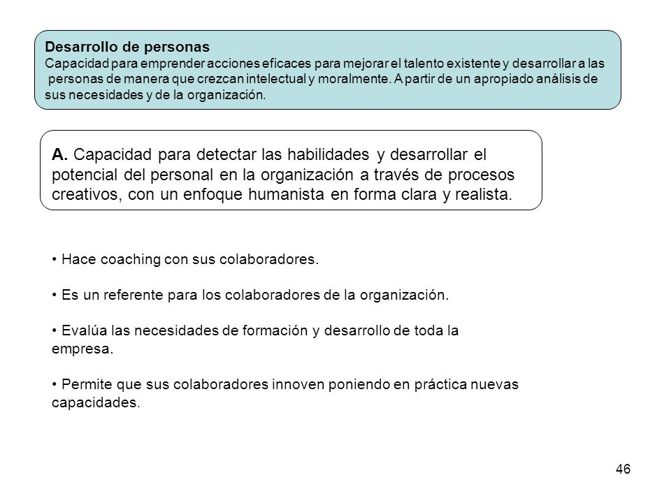 46 Hace coaching con sus colaboradores. Es un referente para los colaboradores de la organización. Evalúa las necesidades de formación y desarrollo de