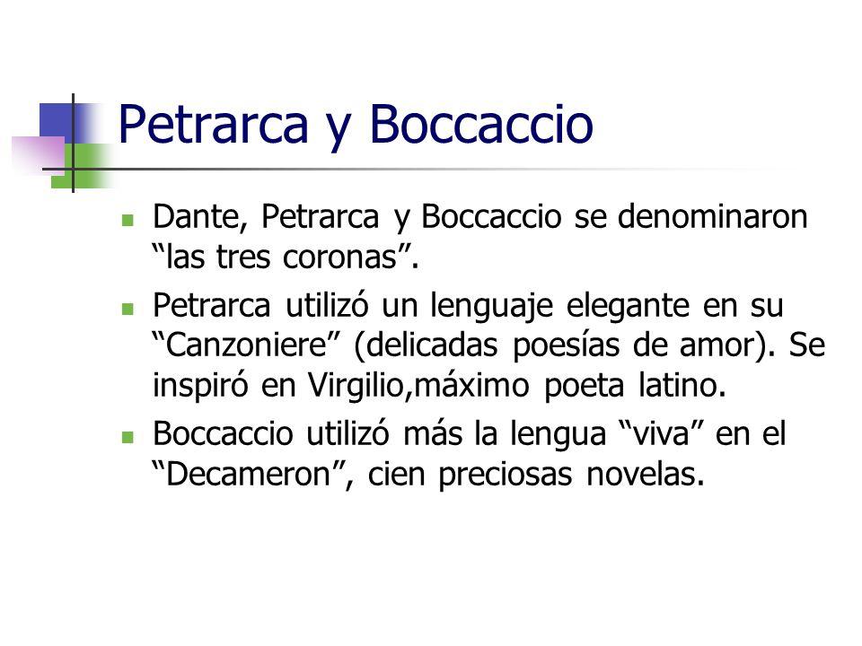 Petrarca y Boccaccio Dante, Petrarca y Boccaccio se denominaron las tres coronas. Petrarca utilizó un lenguaje elegante en su Canzoniere (delicadas po