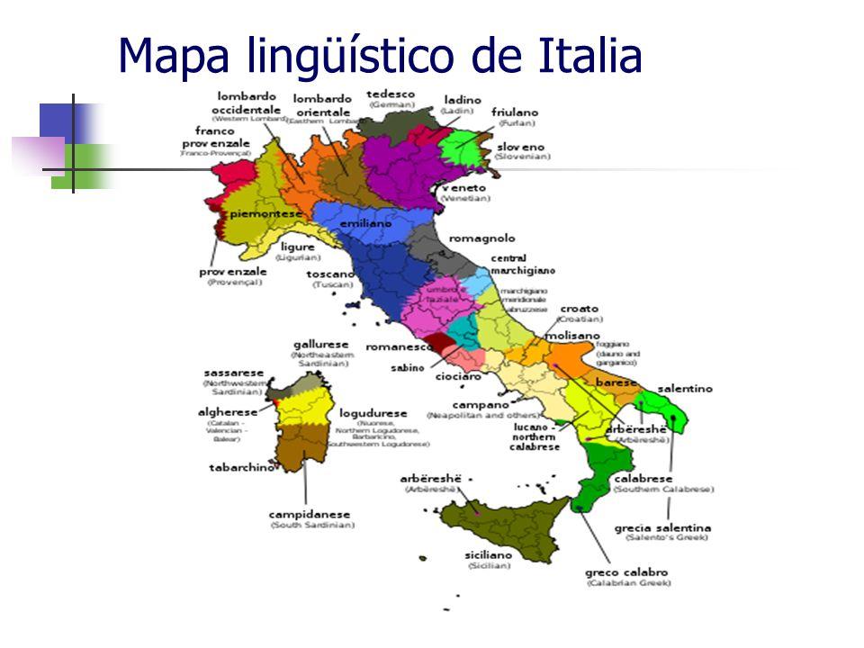 Mapa lingüístico de Italia