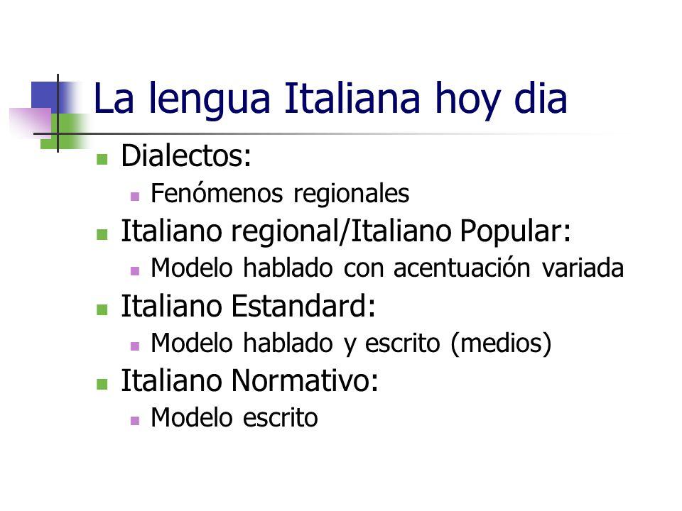 La lengua Italiana hoy dia Dialectos: Fenómenos regionales Italiano regional/Italiano Popular: Modelo hablado con acentuación variada Italiano Estanda