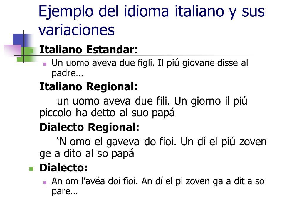 Ejemplo del idioma italiano y sus variaciones Italiano Estandar: Un uomo aveva due figli. Il piú giovane disse al padre… Italiano Regional: un uomo av