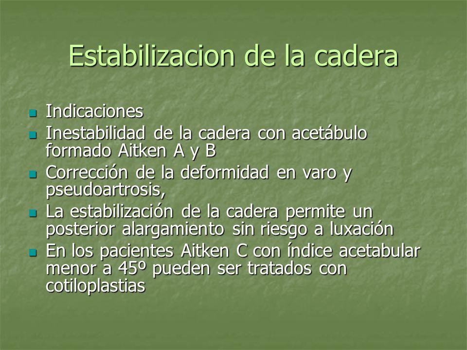 Estabilizacion de la cadera Indicaciones Indicaciones Inestabilidad de la cadera con acetábulo formado Aitken A y B Inestabilidad de la cadera con ace