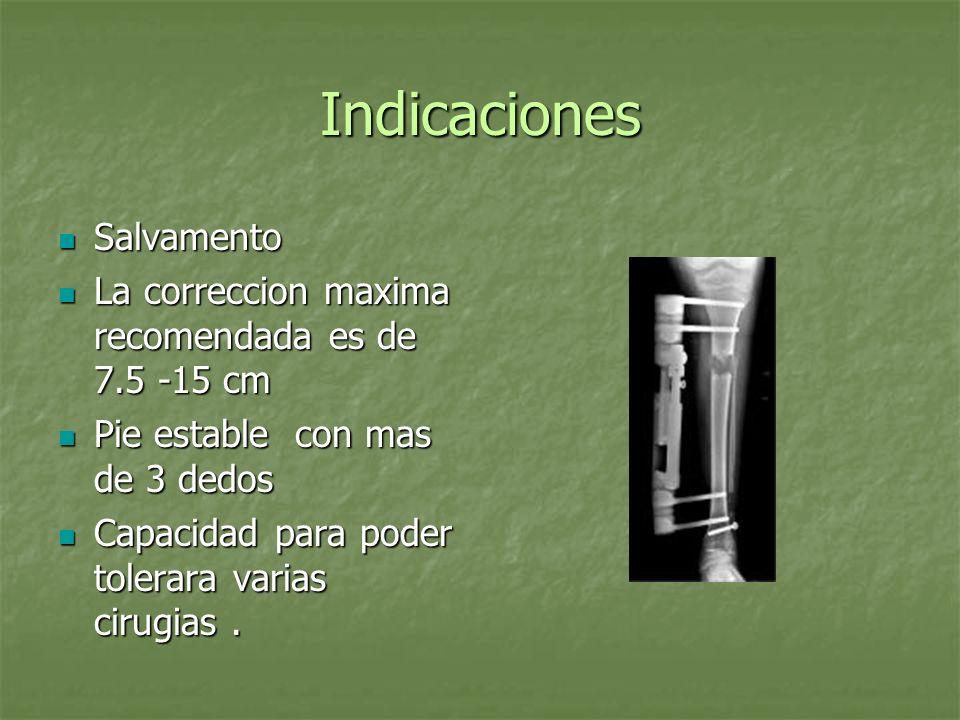 Indicaciones Salvamento Salvamento La correccion maxima recomendada es de 7.5 -15 cm La correccion maxima recomendada es de 7.5 -15 cm Pie estable con