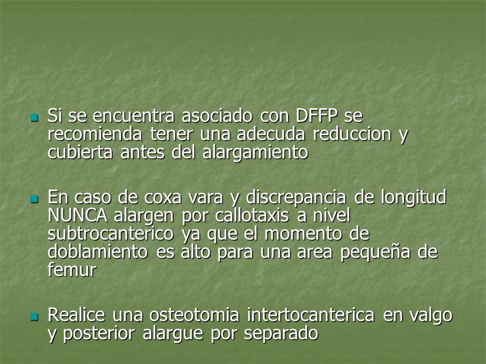 Si se encuentra asociado con DFFP se recomienda tener una adecuda reduccion y cubierta antes del alargamiento Si se encuentra asociado con DFFP se rec