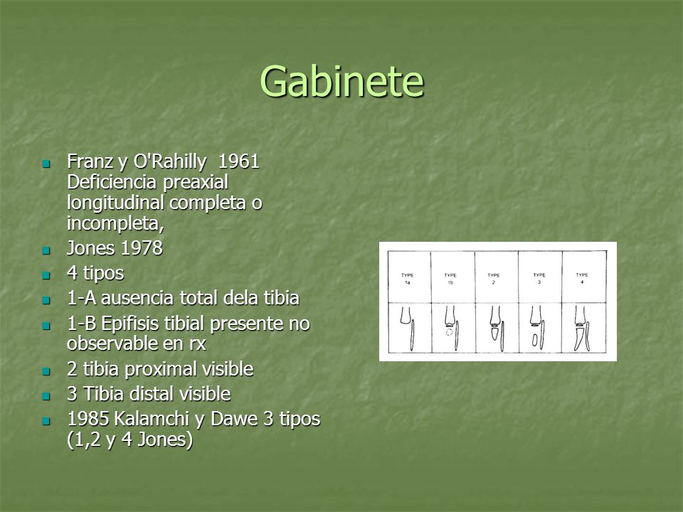 Gabinete Franz y O'Rahilly 1961 Deficiencia preaxial longitudinal completa o incompleta, Franz y O'Rahilly 1961 Deficiencia preaxial longitudinal comp