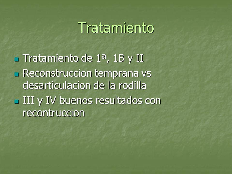 Tratamiento Tratamiento de 1ª, 1B y II Tratamiento de 1ª, 1B y II Reconstruccion temprana vs desarticulacion de la rodilla Reconstruccion temprana vs